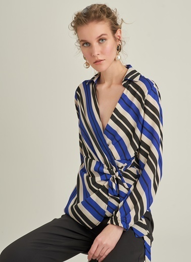 Ng Style Çizgili V Yaka Bluz Saks